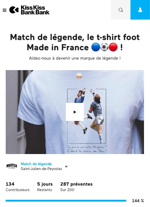 Résultat du Crowdfunding sur KissKissBankBank - Financement participatif pour création de la marque Match de Légende